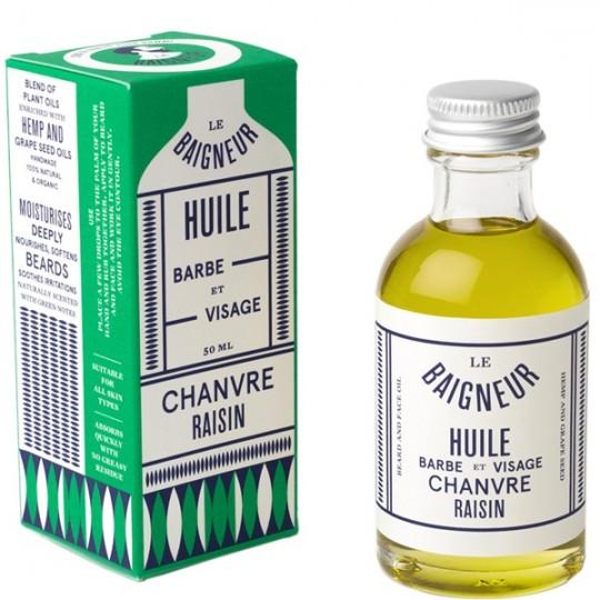 Huile de soin Barbe 50ml - Chanvre et Raisin. Cette huile à barbe est un soin du quotidien pour revitaliser la peau et la barbe.