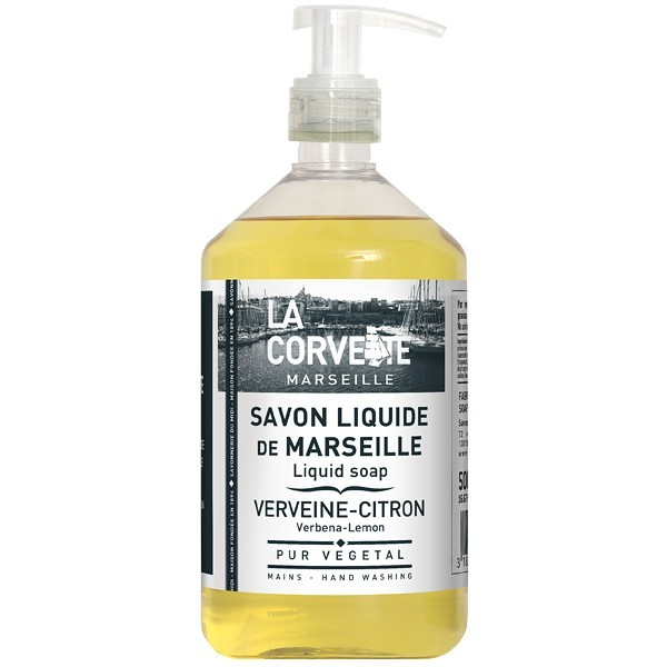 savon de marseille liquide 500 ml verveine et citron odeur tr s naturelle. Black Bedroom Furniture Sets. Home Design Ideas