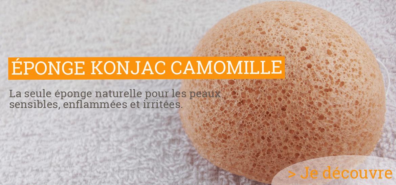 Éponge Konjac Visage – Camomille - Peaux Irritées et fragilisées