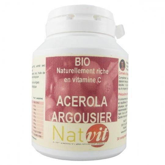 Acerola Argousier - 30 Comprimés à croquer - Vitamine C pour coup de booste contre la fatigue