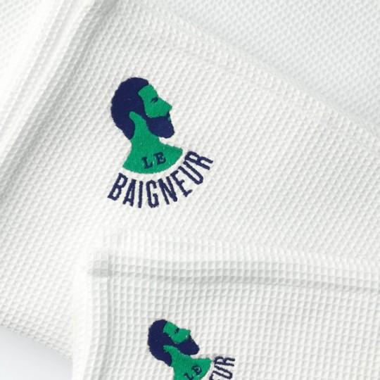 Serviette Visage Nid d'Abeille 100% - 40 x 50 cm - Serviette Le Baigneur spéciale barbe et soin du visage