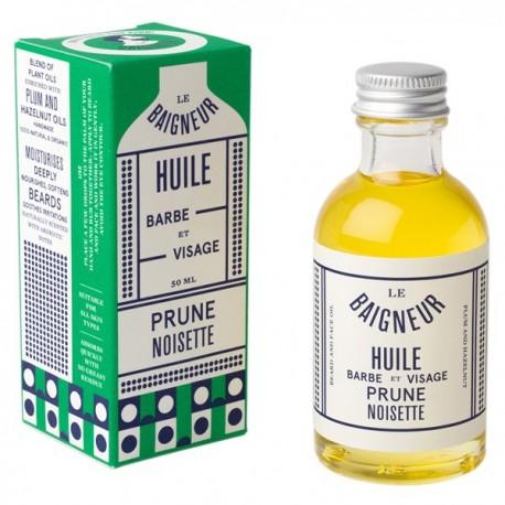 Huile de soin Barbe 50ml - Prune et Noisette - Cette huile de soin pour homme lutte contre la peau grasse et protège la peau en