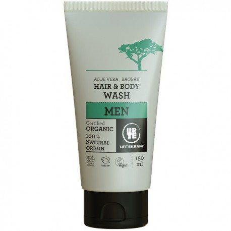 Shampoing-Douche Homme Cheveux et Corps Aloe vera et Baobab Urtekram gamme Men