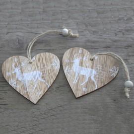CADEAU : Lot de 2 décorations artisanales de Noël en bois