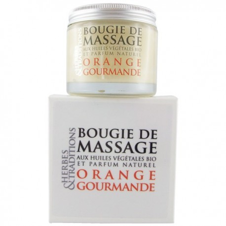 Bougie de massage bio naturelle saveur orange chocolat
