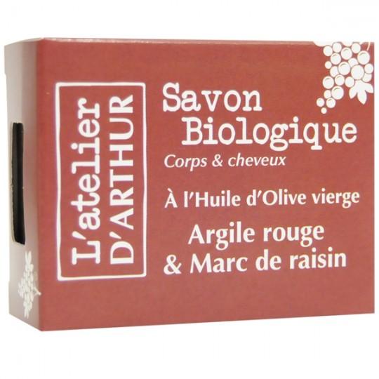 Savon Argile rouge et Marc de raisin 100gr – Corps et Cheveux