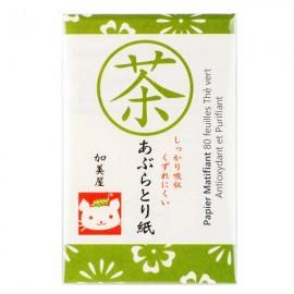 Papier Matifiant 80 feuilles au Thé vert - Antioxydant et Purifiant