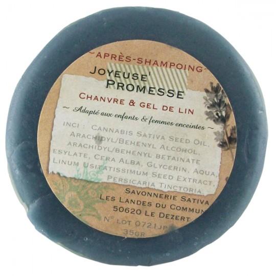 Après-shampoing démêlant 35 gr - Brillance et Douceur au gel de lin Savonnerie Sativa