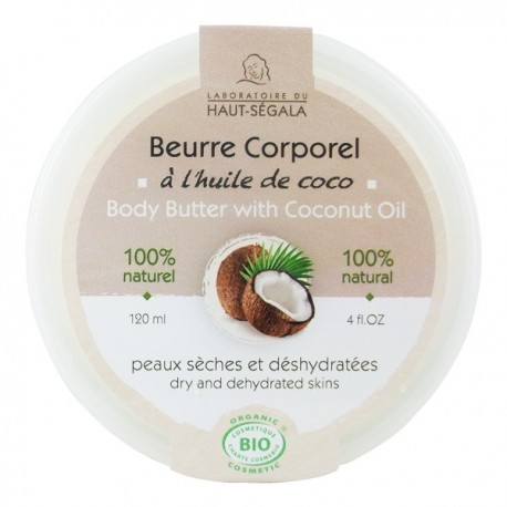 Beurre Corporel à l'huile de coco 120 ml - Peaux sèches et déshydratées - Laboratoire du haut ségala
