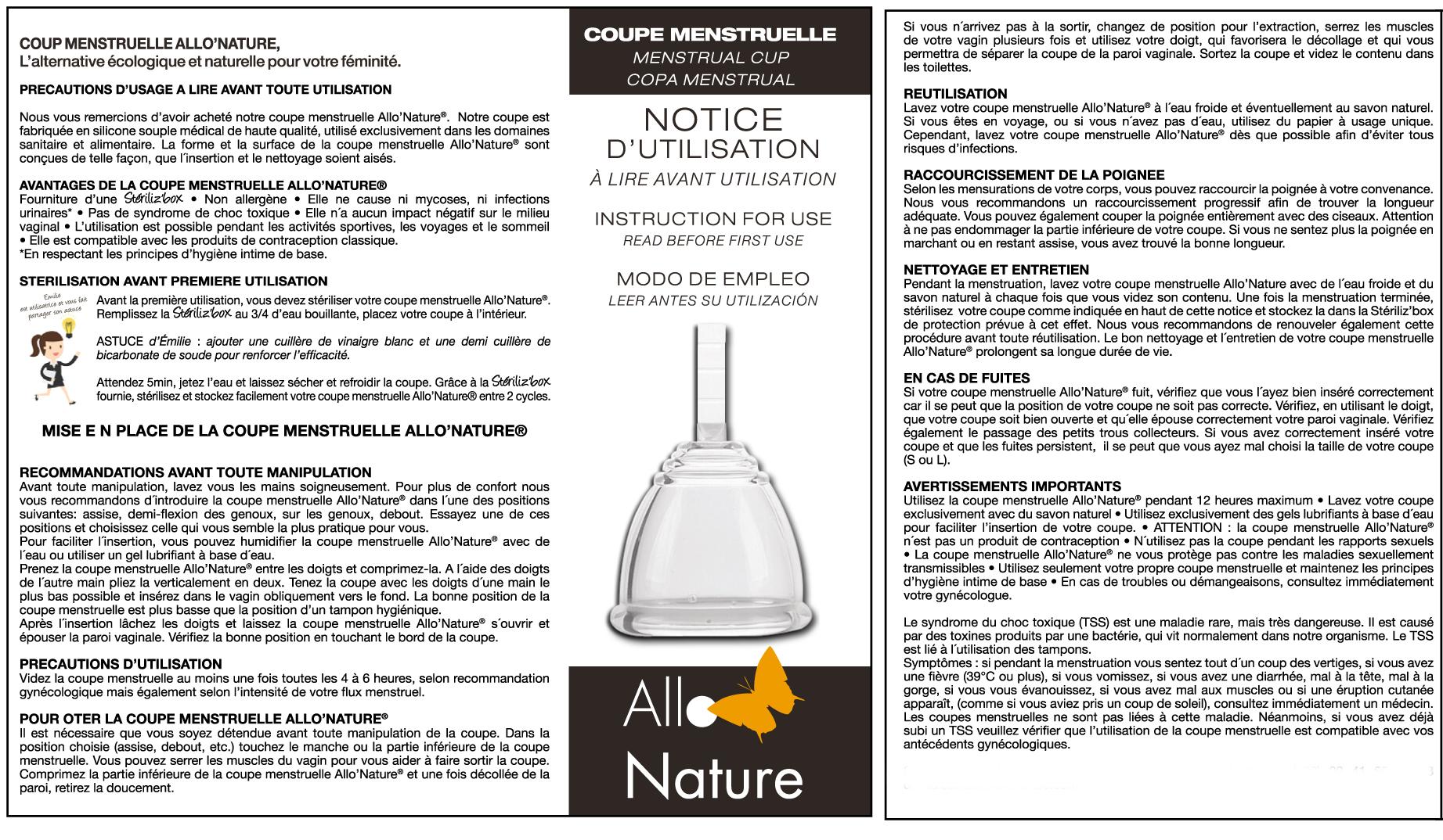 Coupe menstruelle allo 39 nature cup f minine taille s et l - Insertion coupe menstruelle ...