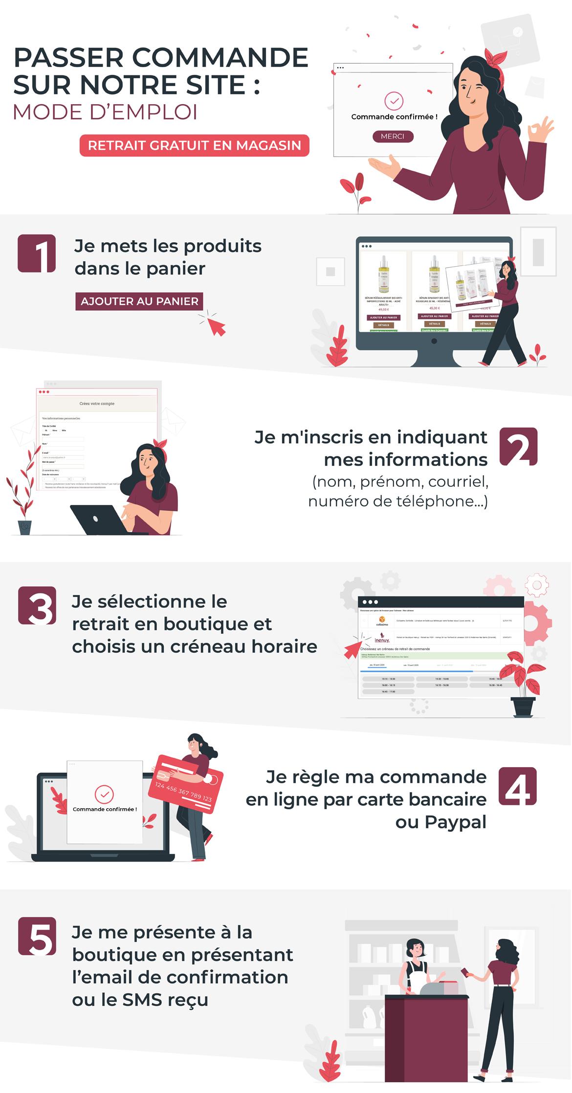 Comment retirer une commande chez inenuy dans la boutique de cosmétique bio à Andernos-les-bains (Gironde / Bassin d'Arcachon)