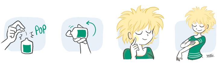 Comment utiliser les huiles essentielles ? Découvrez sur ce schéma d'indemne, les bons gestes pour bien utiliser les lotions à base d'huiles essentielles d'indemne.